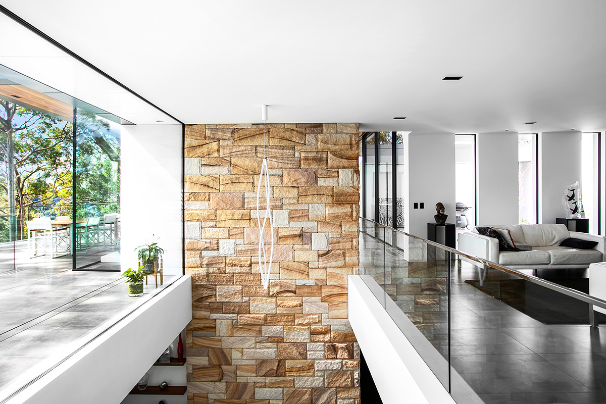 sandstone brickwork open plan high ceiling